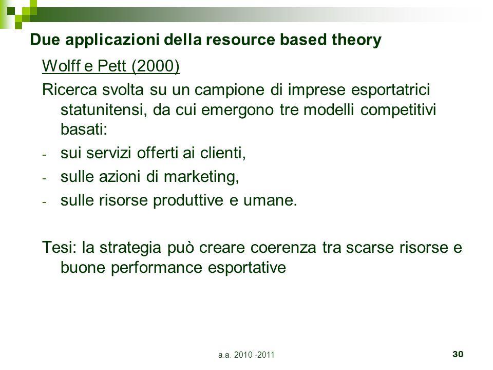 Due applicazioni della resource based theory