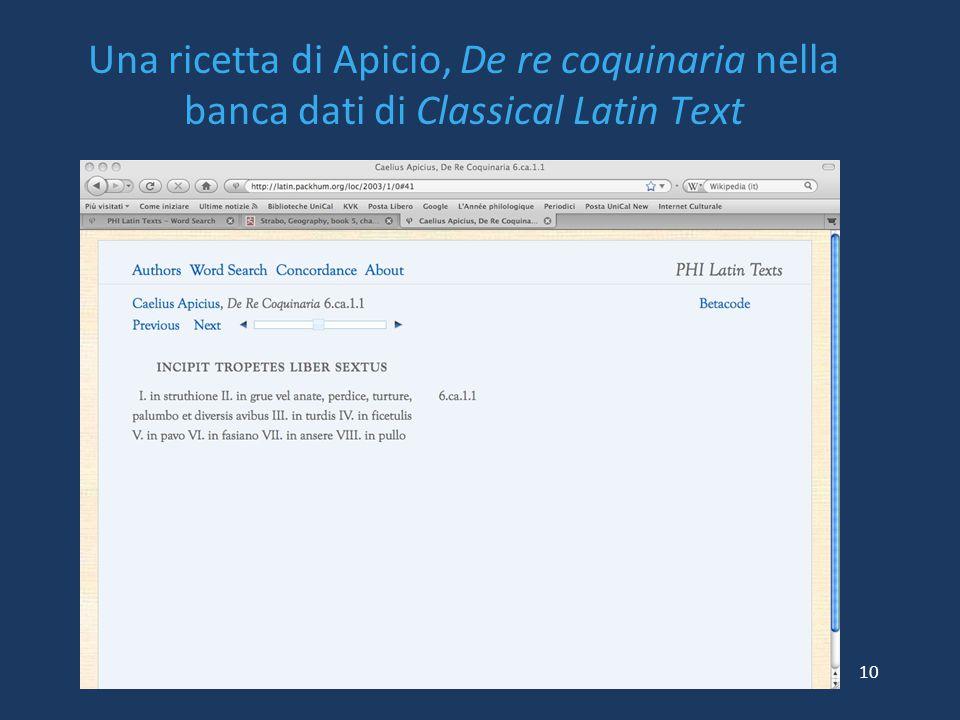 Una ricetta di Apicio, De re coquinaria nella banca dati di Classical Latin Text
