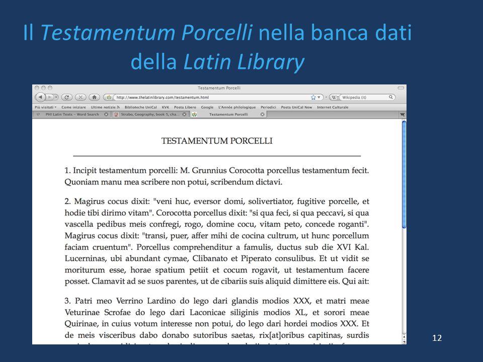 Il Testamentum Porcelli nella banca dati della Latin Library