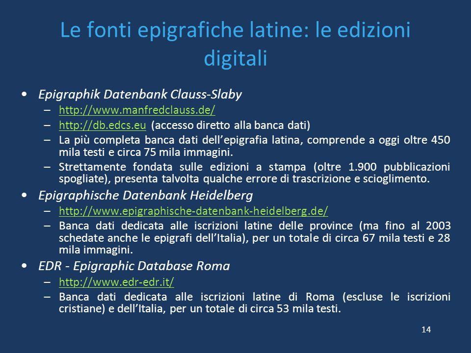 Le fonti epigrafiche latine: le edizioni digitali