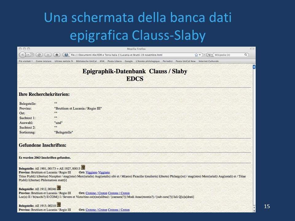 Una schermata della banca dati epigrafica Clauss-Slaby