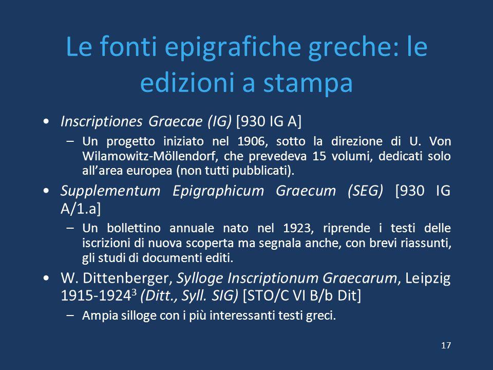Le fonti epigrafiche greche: le edizioni a stampa