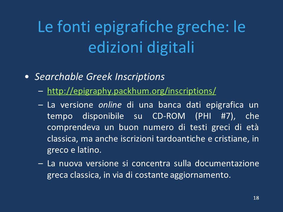 Le fonti epigrafiche greche: le edizioni digitali