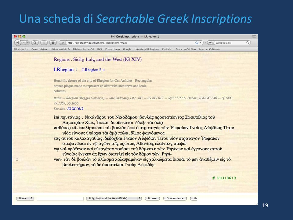 Una scheda di Searchable Greek Inscriptions