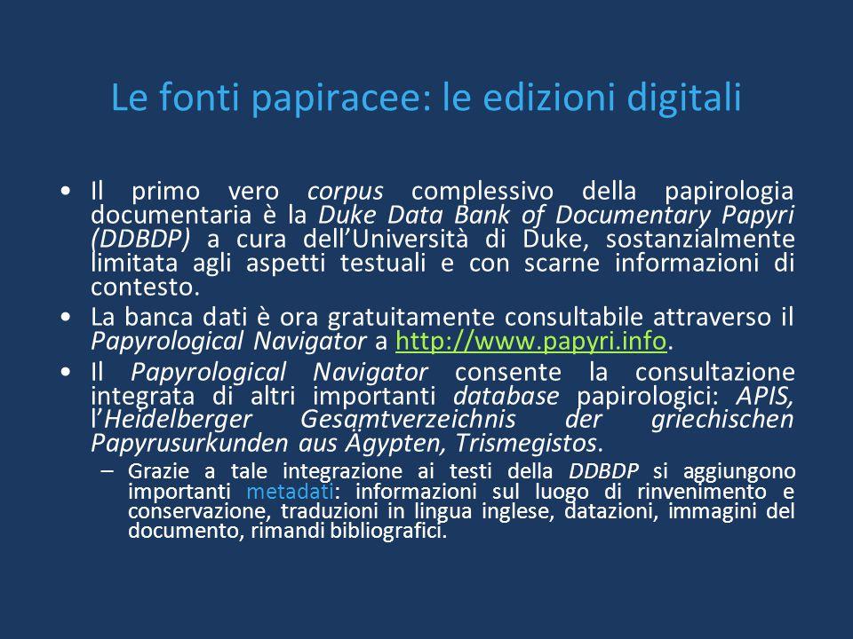 Le fonti papiracee: le edizioni digitali