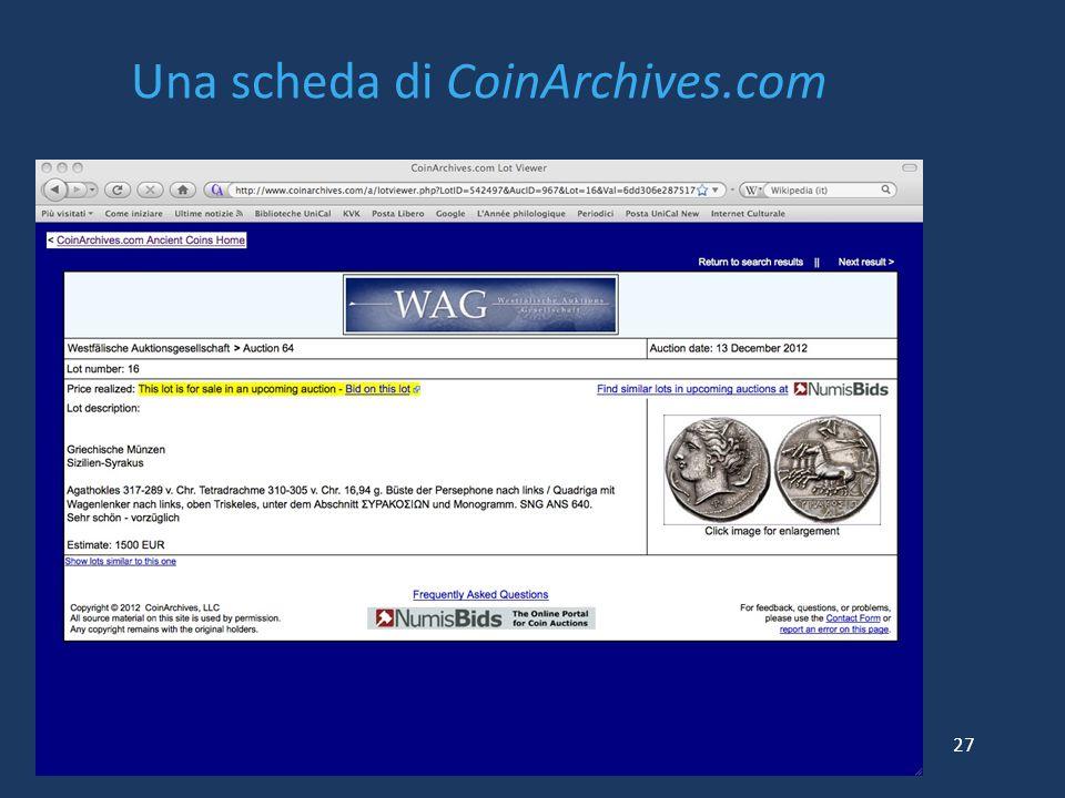 Una scheda di CoinArchives.com