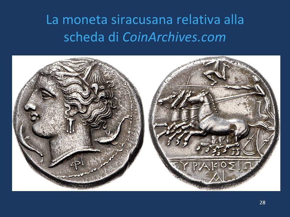 La moneta siracusana relativa alla scheda di CoinArchives.com