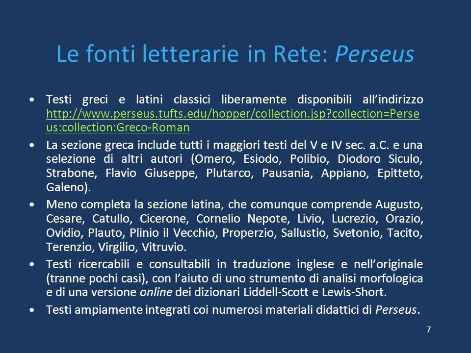 Le fonti letterarie in Rete: Perseus