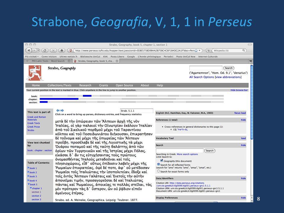 Strabone, Geografia, V, 1, 1 in Perseus