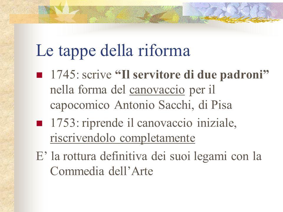 Le tappe della riforma 1745: scrive Il servitore di due padroni nella forma del canovaccio per il capocomico Antonio Sacchi, di Pisa.