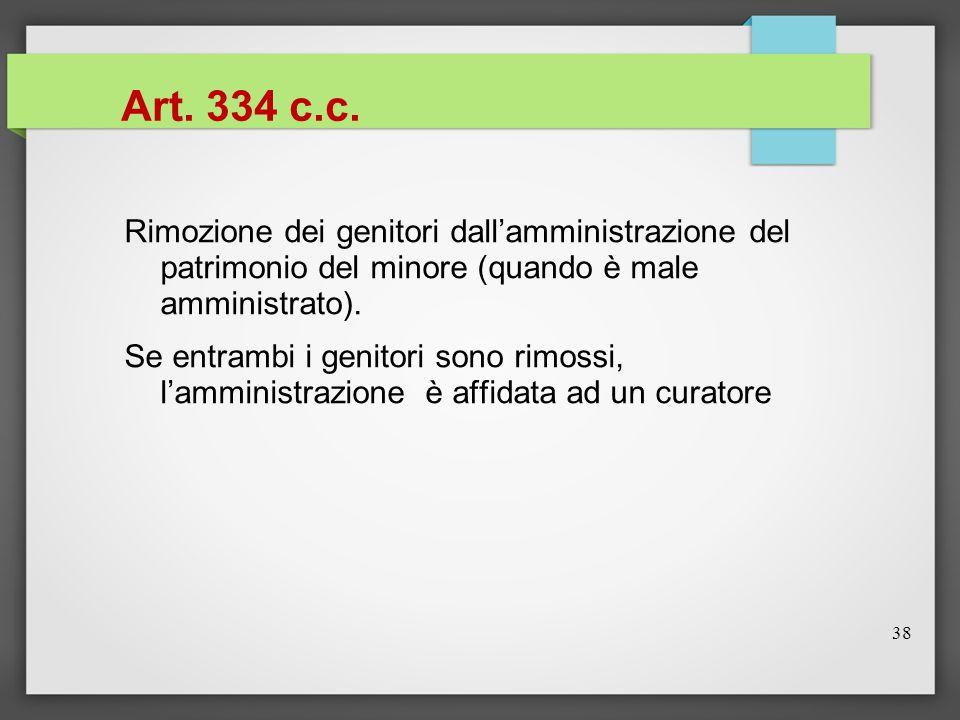 Art. 334 c.c. Rimozione dei genitori dall'amministrazione del patrimonio del minore (quando è male amministrato).