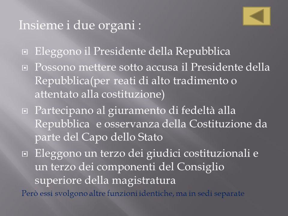Insieme i due organi : Eleggono il Presidente della Repubblica