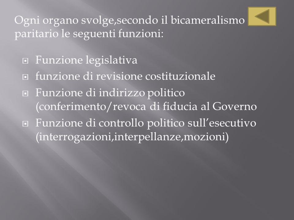 Ogni organo svolge,secondo il bicameralismo paritario le seguenti funzioni: