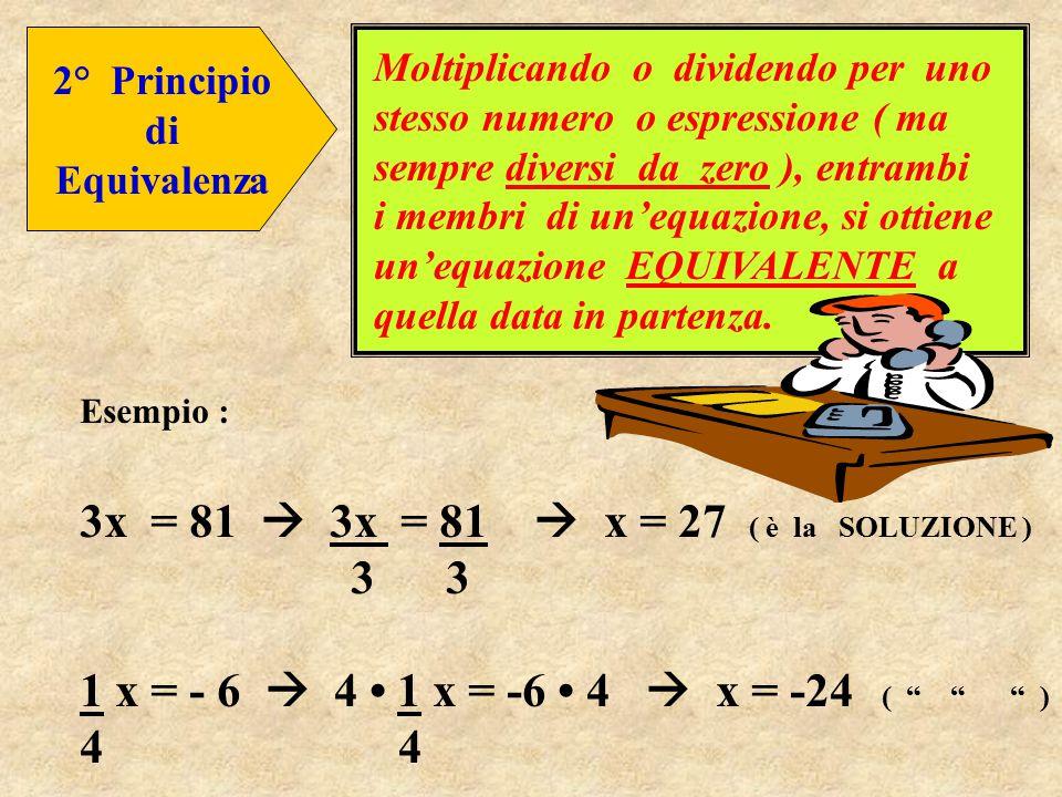3x = 81  3x = 81  x = 27 ( è la SOLUZIONE ) 3 3