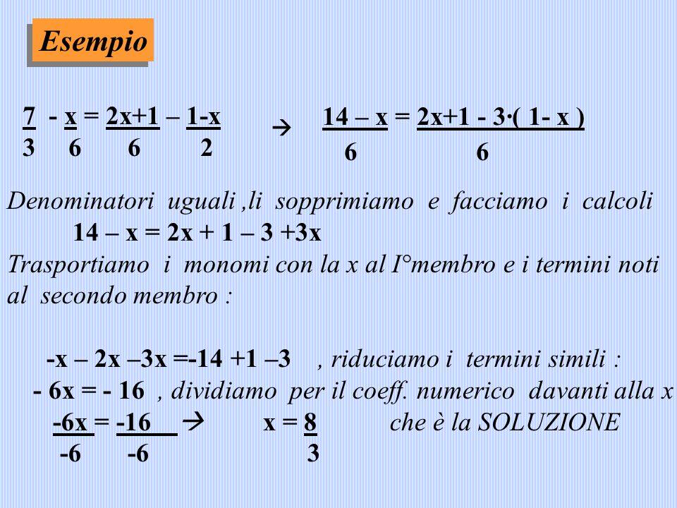 Esempio 6 6 7 - x = 2x+1 – 1-x 14 – x = 2x+1 - 3·( 1- x ) 3 6 6 2
