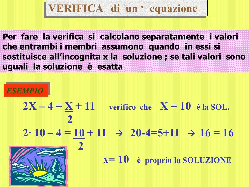 VERIFICA di un ' equazione