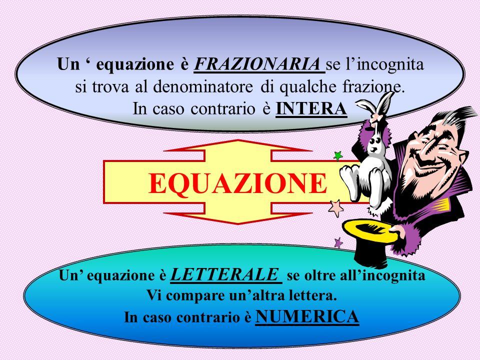 EQUAZIONE Un ' equazione è FRAZIONARIA se l'incognita