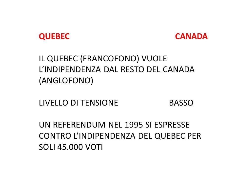 QUEBEC CANADA IL QUEBEC (FRANCOFONO) VUOLE L'INDIPENDENZA DAL RESTO DEL CANADA (ANGLOFONO)