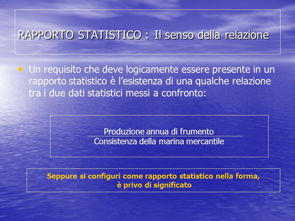 RAPPORTO STATISTICO : Il senso della relazione