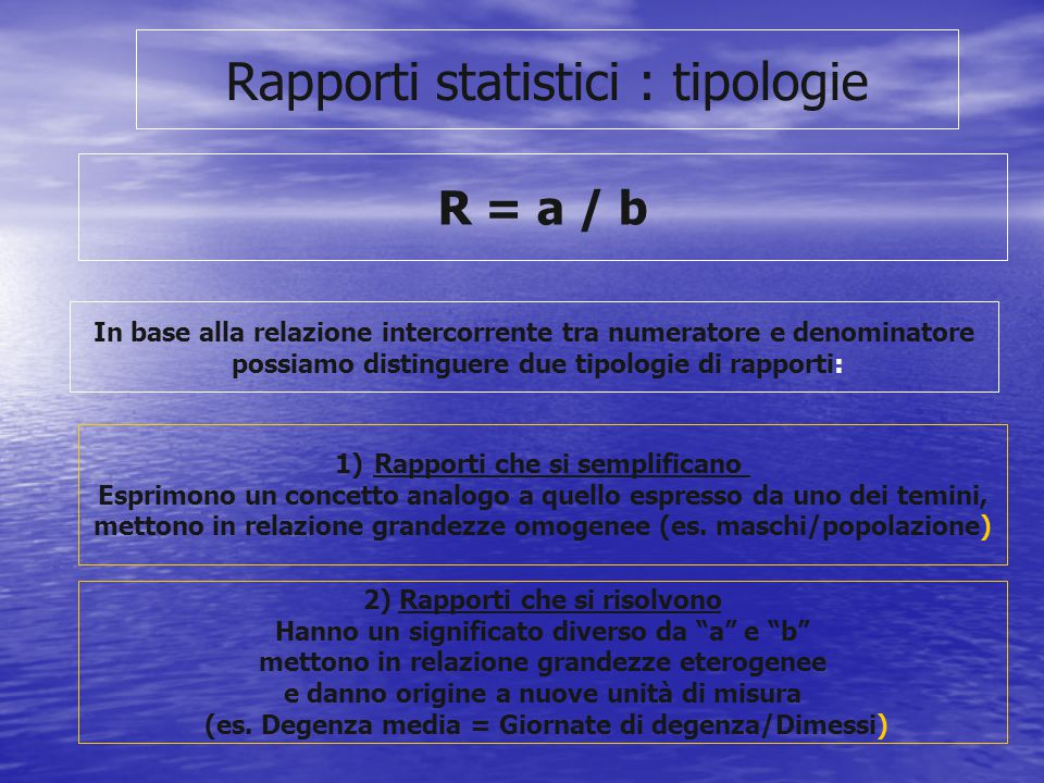 Rapporti statistici : tipologie
