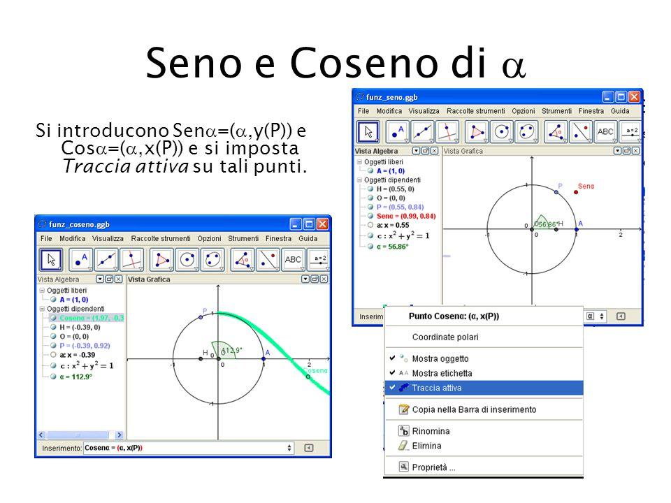 Seno e Coseno di  Si introducono Sen=(,y(P)) e Cos=(,x(P)) e si imposta Traccia attiva su tali punti.