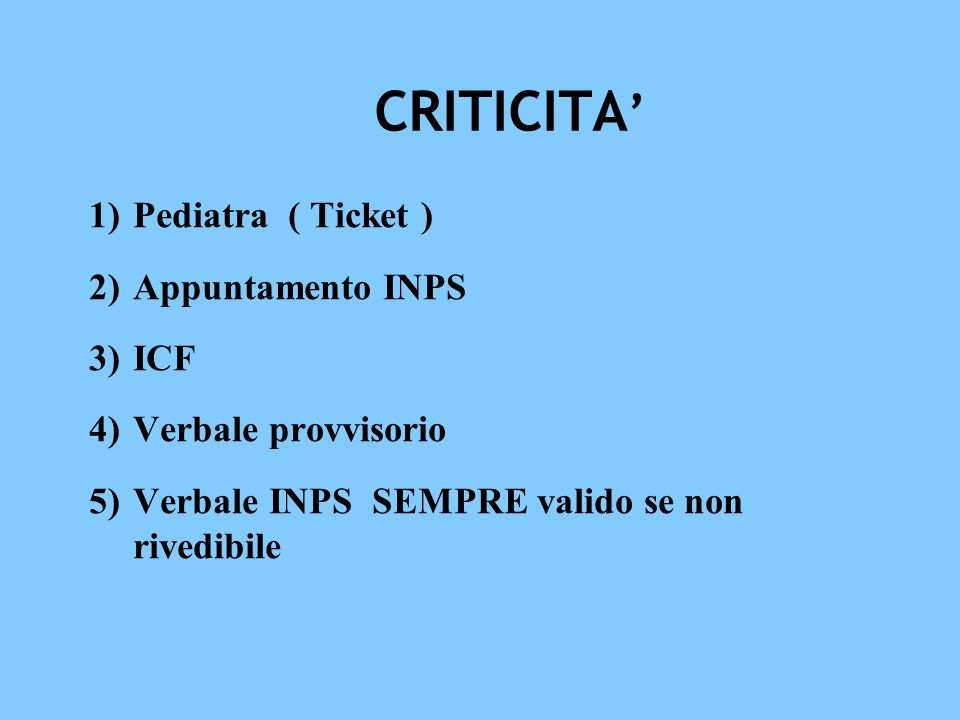 CRITICITA' Pediatra ( Ticket ) Appuntamento INPS ICF