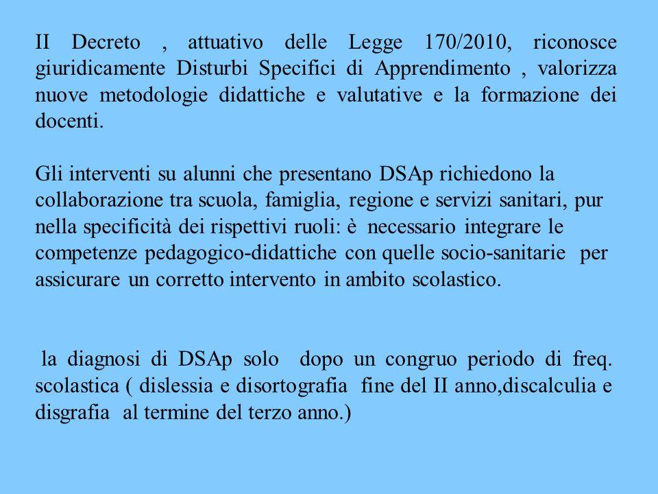 II Decreto , attuativo delle Legge 170/2010, riconosce giuridicamente Disturbi Specifici di Apprendimento , valorizza nuove metodologie didattiche e valutative e la formazione dei docenti.