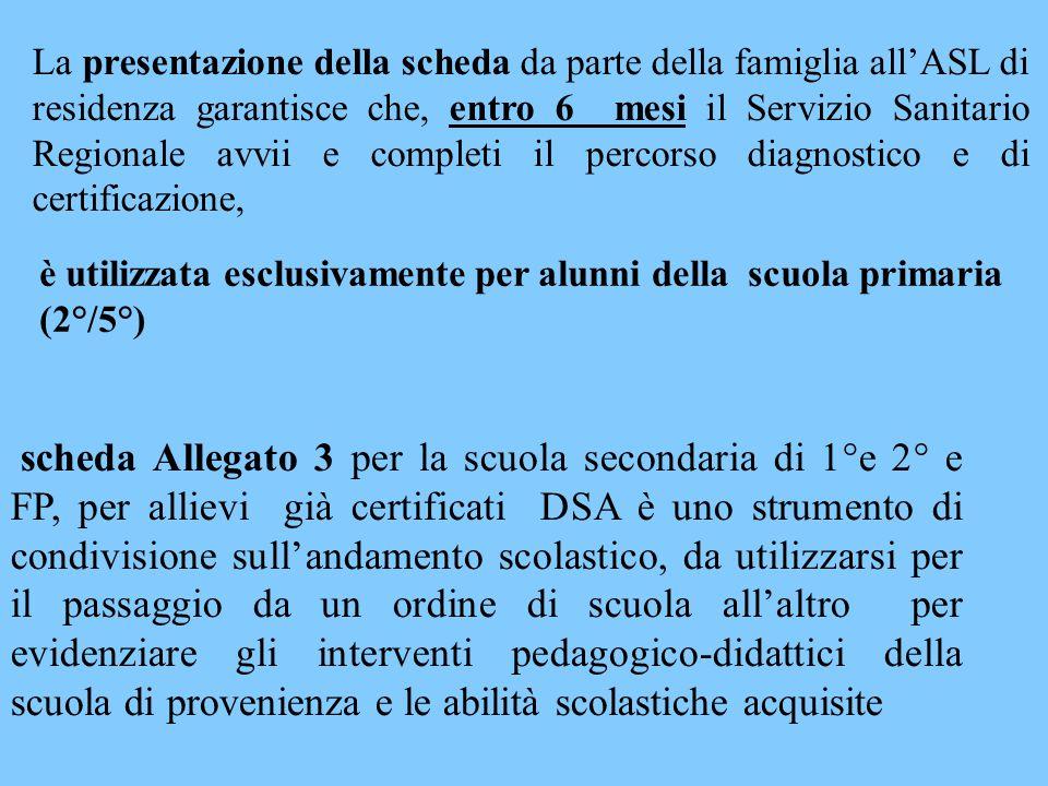 La presentazione della scheda da parte della famiglia all'ASL di residenza garantisce che, entro 6 mesi il Servizio Sanitario Regionale avvii e completi il percorso diagnostico e di certificazione,