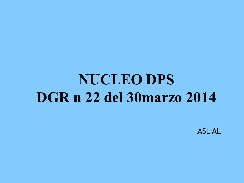 NUCLEO DPS DGR n 22 del 30marzo 2014