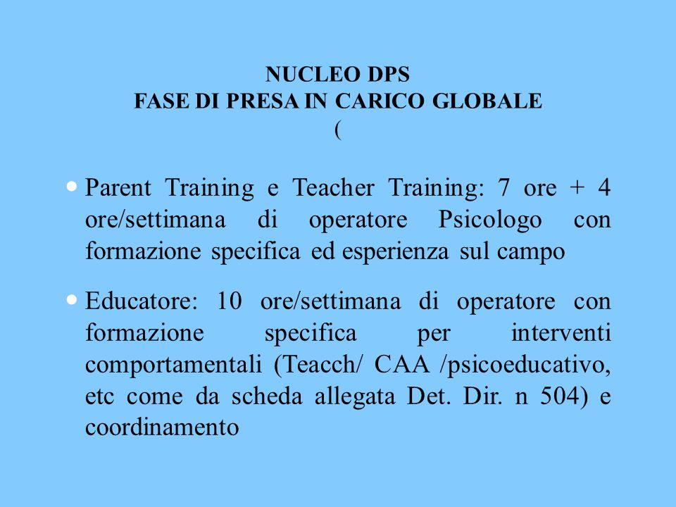 NUCLEO DPS FASE DI PRESA IN CARICO GLOBALE (