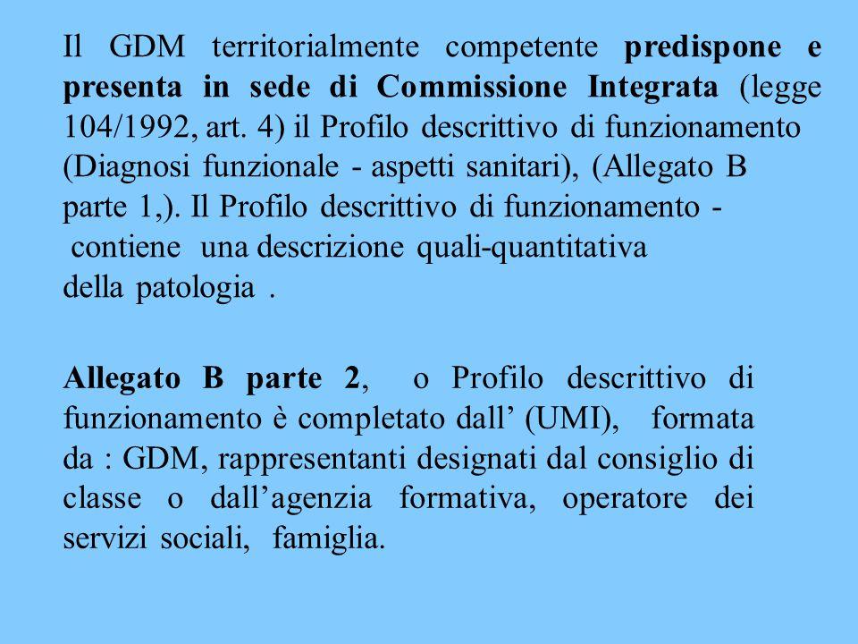 Il GDM territorialmente competente predispone e presenta in sede di Commissione Integrata (legge 104/1992, art. 4) il Profilo descrittivo di funzionamento