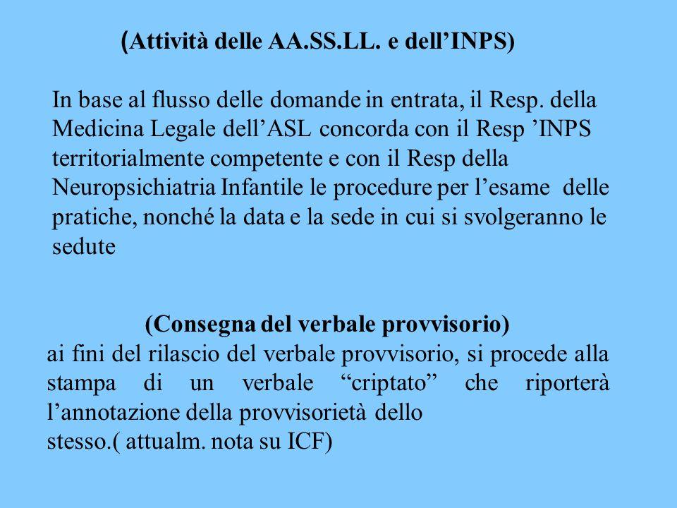 (Attività delle AA.SS.LL. e dell'INPS)
