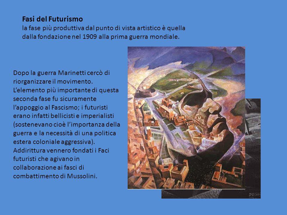 Fasi del Futurismo la fase più produttiva dal punto di vista artistico è quella dalla fondazione nel 1909 alla prima guerra mondiale.
