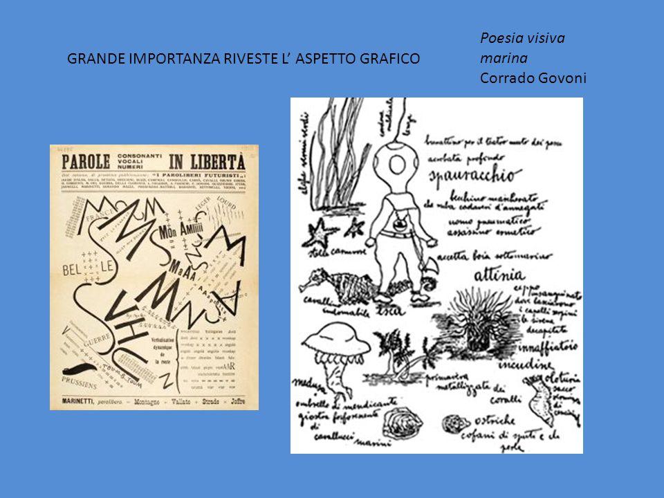 Poesia visiva marina Corrado Govoni GRANDE IMPORTANZA RIVESTE L' ASPETTO GRAFICO
