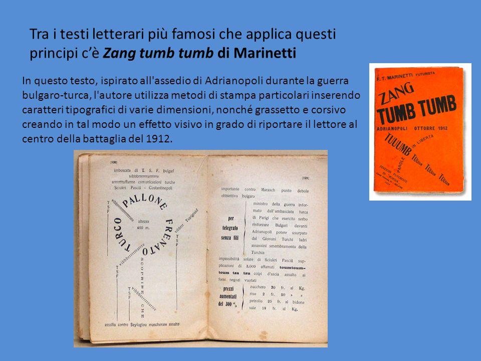Tra i testi letterari più famosi che applica questi principi c'è Zang tumb tumb di Marinetti