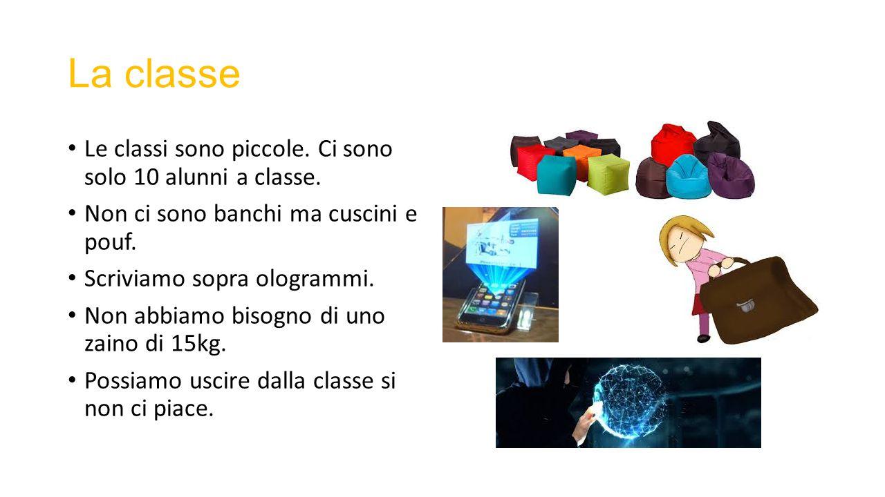 La classe Le classi sono piccole. Ci sono solo 10 alunni a classe.