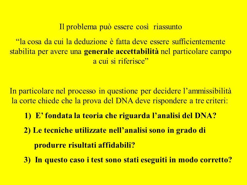1) E' fondata la teoria che riguarda l'analisi del DNA
