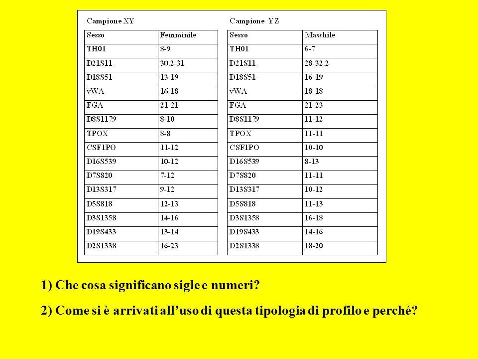 1) Che cosa significano sigle e numeri