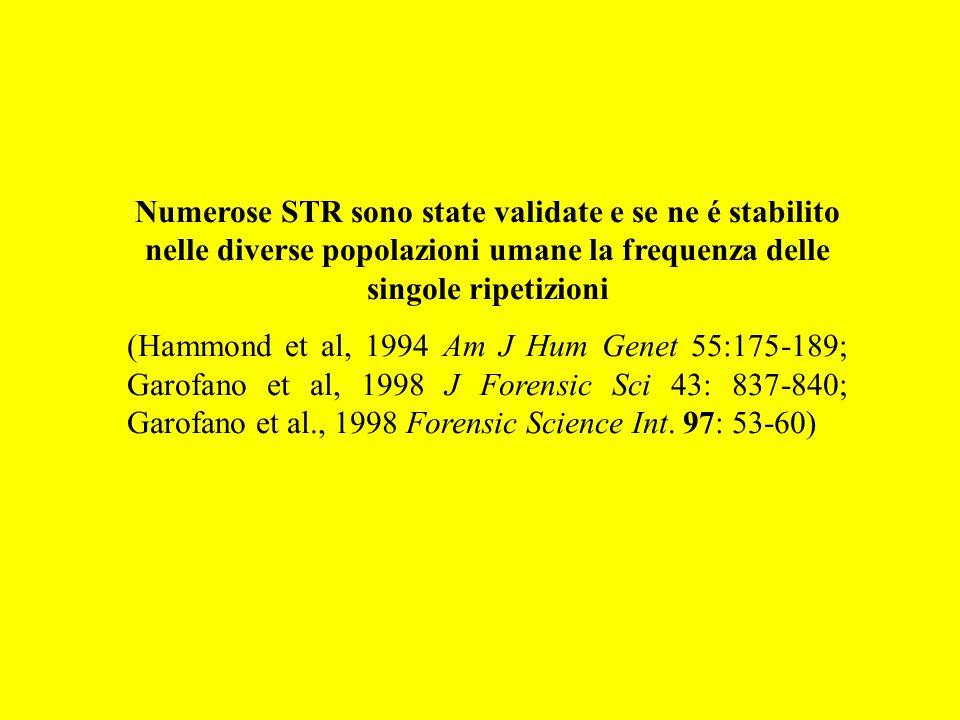 Numerose STR sono state validate e se ne é stabilito nelle diverse popolazioni umane la frequenza delle singole ripetizioni
