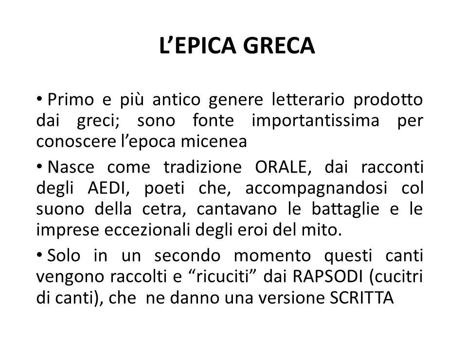L'EPICA GRECA Primo e più antico genere letterario prodotto dai greci; sono fonte importantissima per conoscere l'epoca micenea.