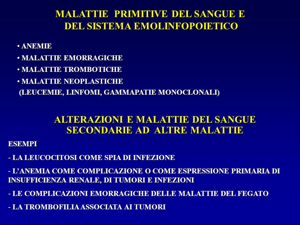 MALATTIE PRIMITIVE DEL SANGUE E DEL SISTEMA EMOLINFOPOIETICO