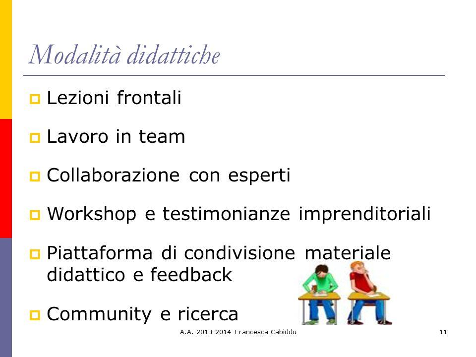 Modalità didattiche Lezioni frontali Lavoro in team