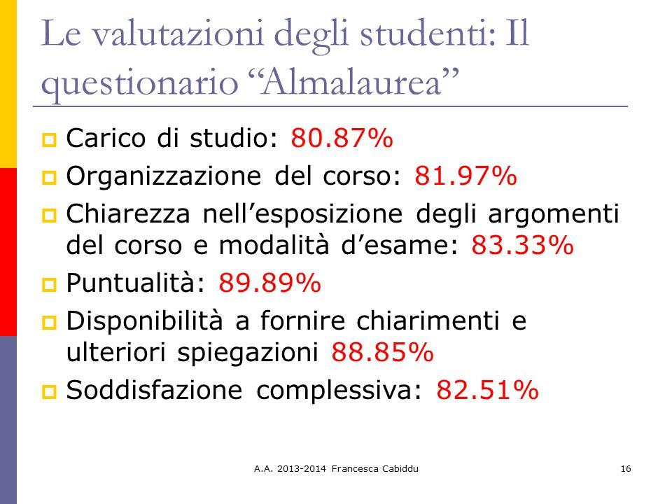 Le valutazioni degli studenti: Il questionario Almalaurea
