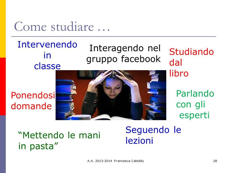 Come studiare … Intervenendo in classe Interagendo nel gruppo facebook