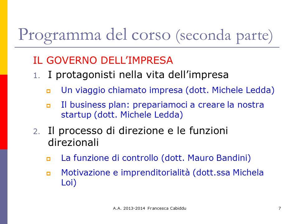Programma del corso (seconda parte)