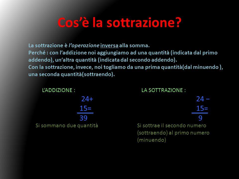 Cos'è la sottrazione La sottrazione è l'operazione inversa alla somma.