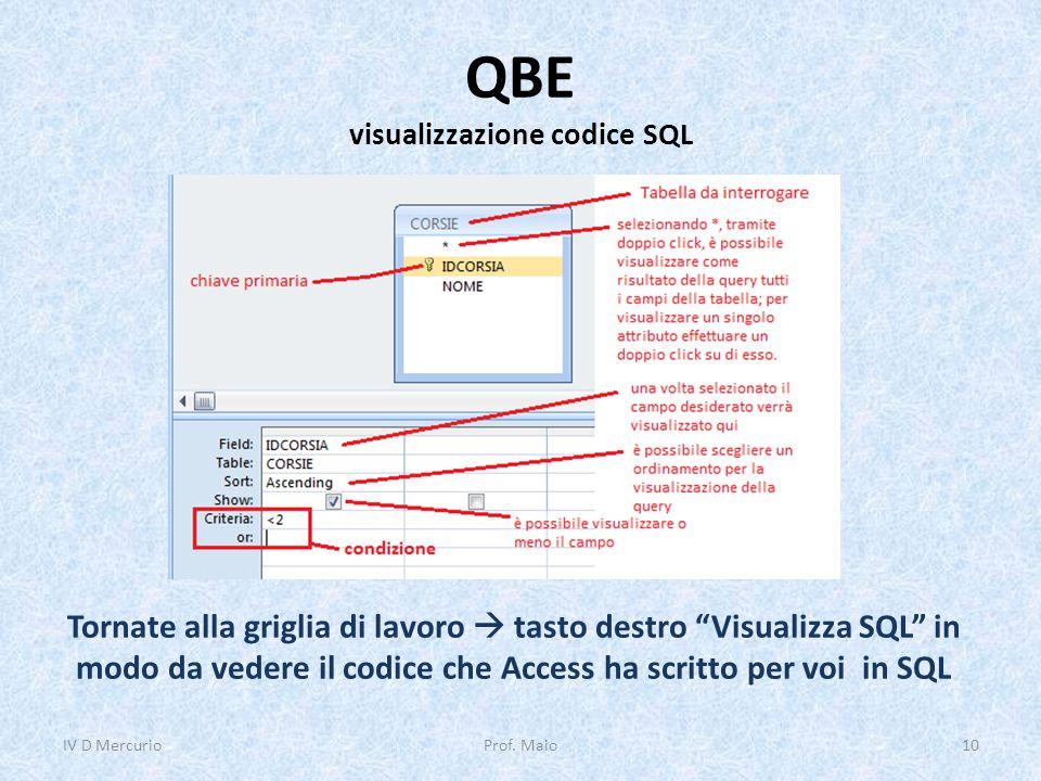 QBE visualizzazione codice SQL