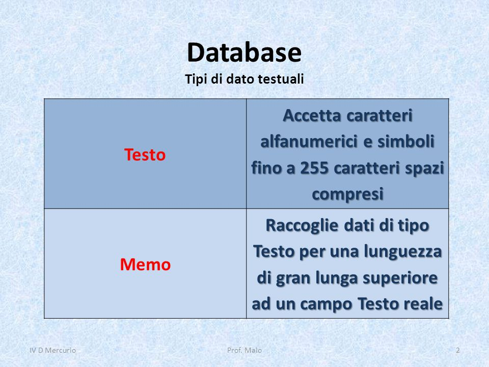 Database Tipi di dato testuali
