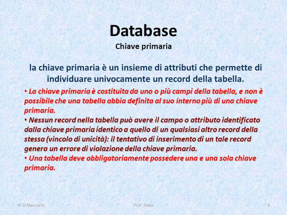 Database Chiave primaria