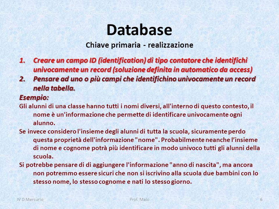 Database Chiave primaria - realizzazione